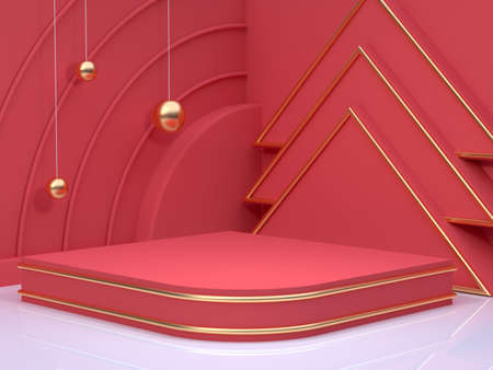 gold sphere red scene wall floor corner abstract minimal christmas holiday new year concept 3d rendering