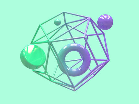gradient purple green geometric shape levitation abstract 3d rendering