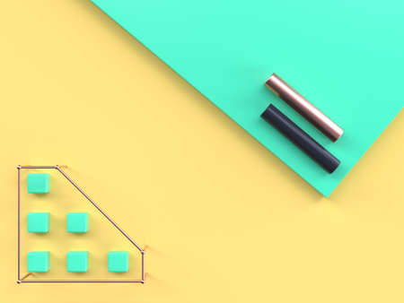 green yellow flat lay scene abstract geometric shape 3d rendering