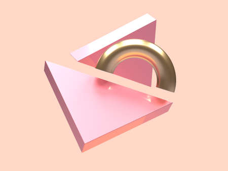 minimal scene pink gold metallic geometric shape levitation 3d rendering abstract symbol