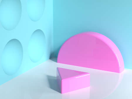 pink geometric shape blue wall corner white floor abstract minimal scene triangle blank podium Reklamní fotografie