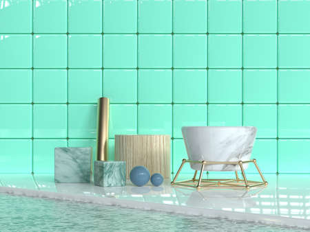 green wall tile glossy/shiny abstract group geometric shape set marble texture gold wood texture 3d rendering