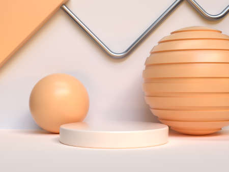 sphere ball yellow/orange geometric shape abstract podium set 3d rendering