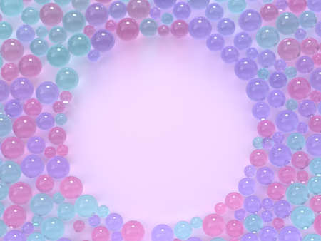 flat lay pink pastel scene many spheres/ball colorful circle frame copy space 3d rendering Reklamní fotografie