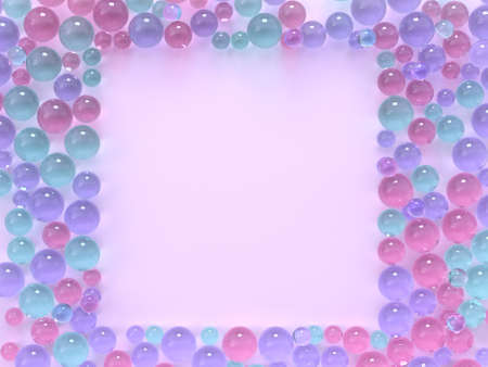flat lay pink pastel scene many spheres/ball colorful square frame copy space 3d rendering
