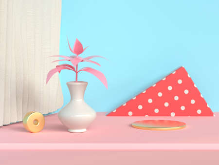 red triangle shape abstract scene blue wall pink floor tree pot/jar 3d rendering
