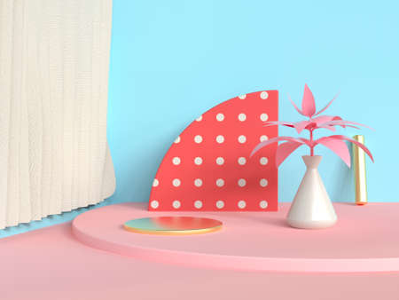 semi circle red abstract scene blue wall pink floor tree pot/jar 3d rendering