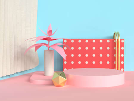 circle podium abstract scene blue wall pink floor tree pot/jar 3d rendering
