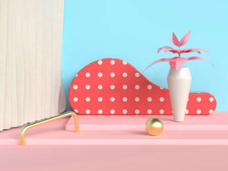 steps abstract scene blue wall pink floor tree pot/jar 3d rendering