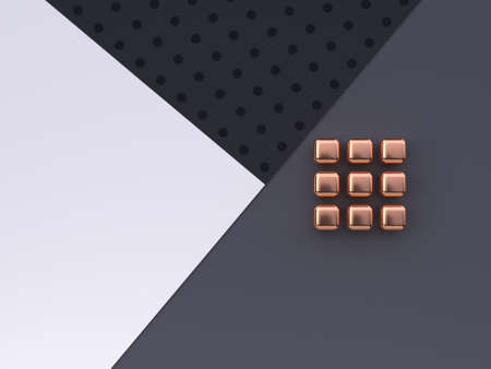 flat lay scene white grey black pattern floor abstract geometric shape gold/copper metallic 3d rendering