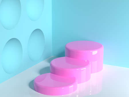 pink geometric shape blue wall corner white floor abstract minimal scene cylinder staircase blank podium