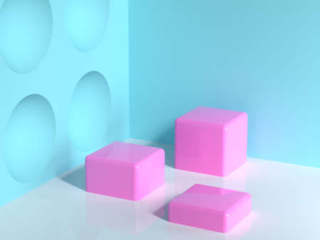pink geometric shape blue wall corner white floor abstract minimal scene square/cube blank podium