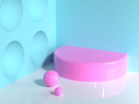pink geometric shape blue wall corner white floor abstract minimal scene semi circle blank podium Reklamní fotografie