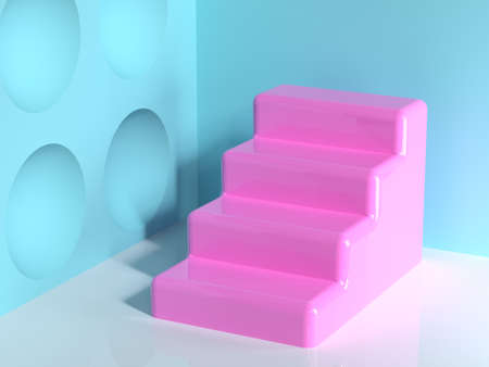 pink geometric shape blue wall corner white floor abstract minimal scene staircase blank podium