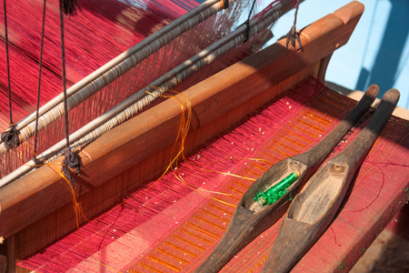 Traditional handloom, hill tribe handicraft, Luang Nam Tha Province, northern Laos, Asia. Stock Photo