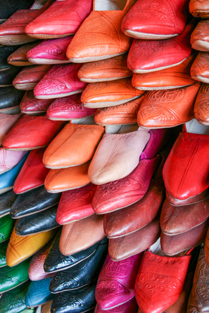 Traditional Moroccan slippers for sale in the leather district of Fes, Morocco.