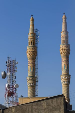 Skyline of central Tabriz, Iran: minarets and communication towers around the bazaar. Éditoriale