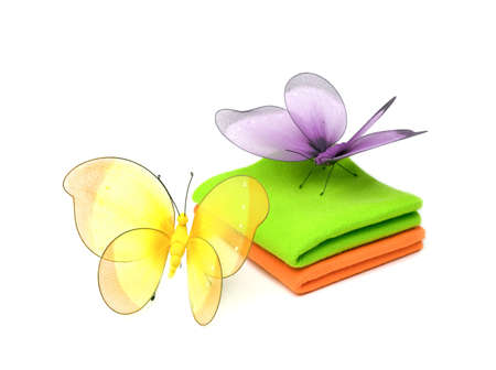cloth and butterflies isolated on white background Stock Photo - 6790517