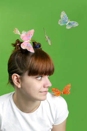 Happy girl  with flying butterflies. Stock Photo - 6908704