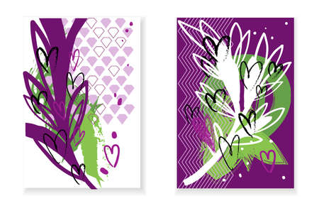 Set of cards with abstract background, white and rose branches and hearts. Illustration