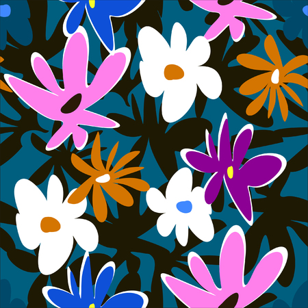 Abstract flowers pattern on dark background. Seamless.