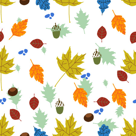Autumn mood. Pattern with colorful leaves, acorns and chestnuts.