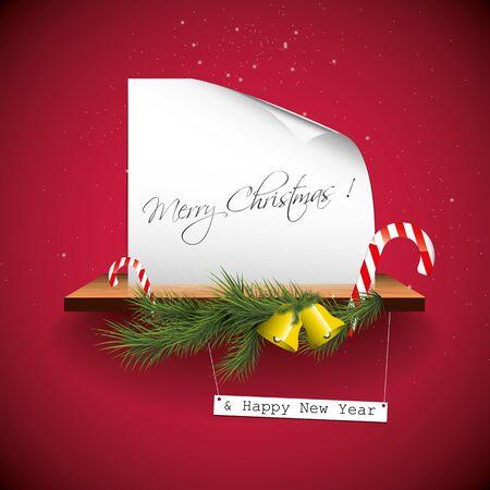 campanas navidad: Tarjeta de felicitaci�n roja de la Navidad Vectores