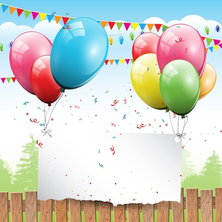 kids playing outside: Colorful Birthday background with balloons and place for text