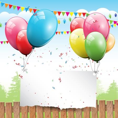invito compleanno: Sfondo colorato compleanno con palloncini e luogo per il testo