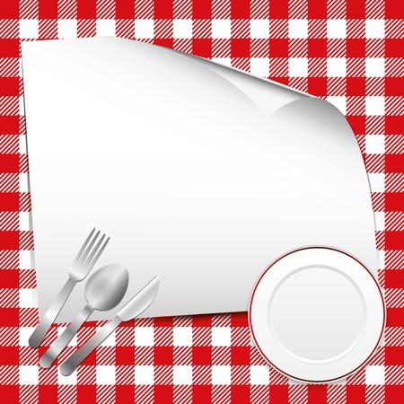Fondo rojo con el restaurante el lugar de texto