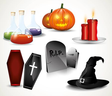 ataud: Halloween de brillantes iconos Vectores