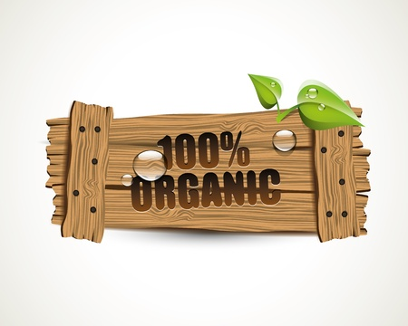 farm sign: 100  Organic - wooden bio icon