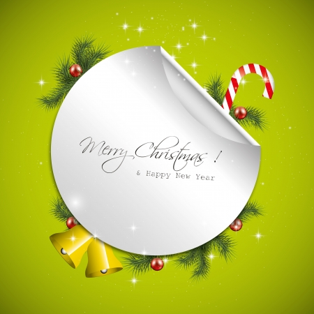 turns of the year: Green Christmas greeting card Illustration