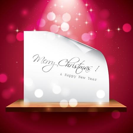 wood shelf: Christmas card on the shelf