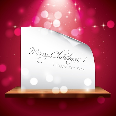 light  glossy: Christmas card on the shelf