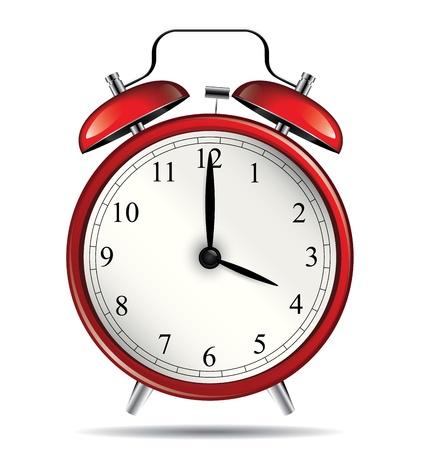 old clock: Red vintage alarm clock Illustration