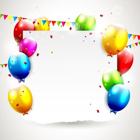 verjaardag ballonen: Moderne verjaardag achtergrond met plaats voor tekst