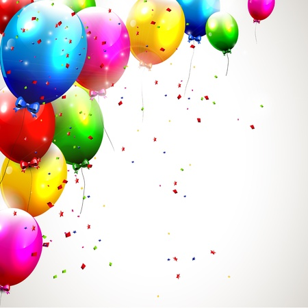 red balloons: Colorful birthday background Illustration