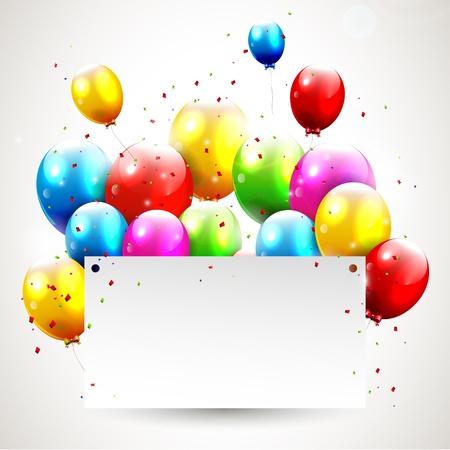 ballons: Anniversaire blanc moderne avec place pour le texte Illustration