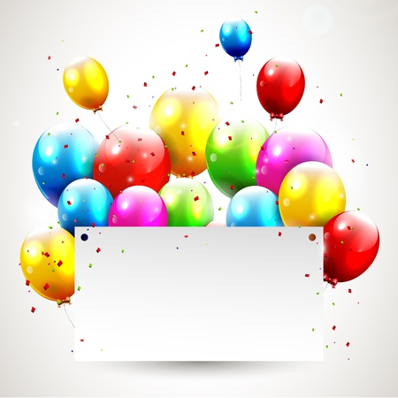 red balloons: Modern birthday background with place for text Illustration