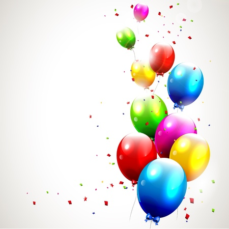 happy young people: Modern birthday background with colorful balloons Illustration