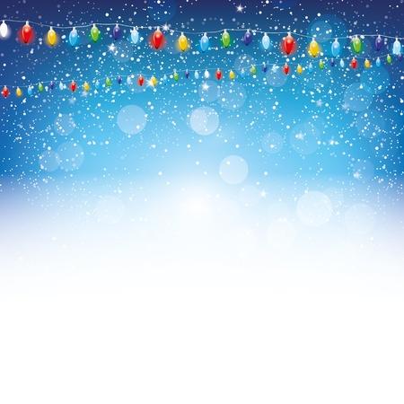 decoration lights: Christmas blue  background