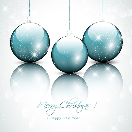 Blue christmas baubles Stock Vector - 16464818