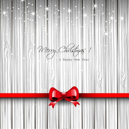 traditional events: Christmas wooden card with red ribbon