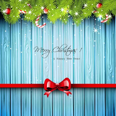 Christmas wooden greeting card Vector