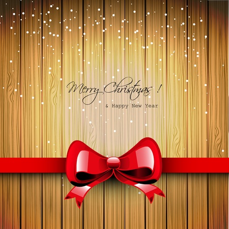 Christmas wooden greeting card with red ribbon Vector