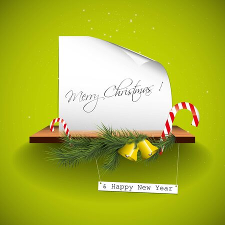 Green christmas greeting card Vector