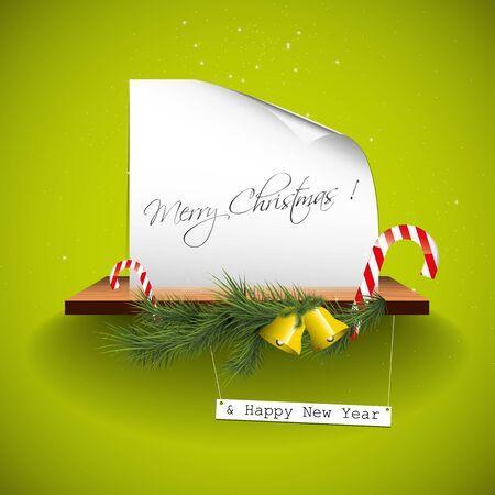 Green christmas greeting card Stock Vector - 16464781