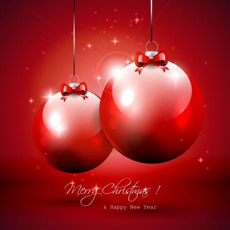 Luxury red Christmas background with baubles Vector