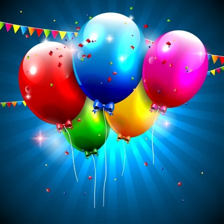 happy birthday balloons: Colorful birthday background  Illustration
